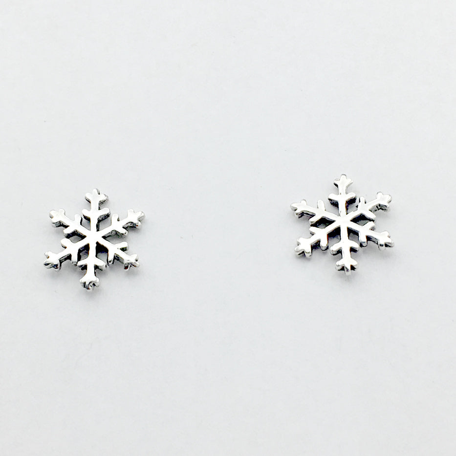 Sterling Silver large snowflake stud earrings- snow, winter, snowflakes,holidays