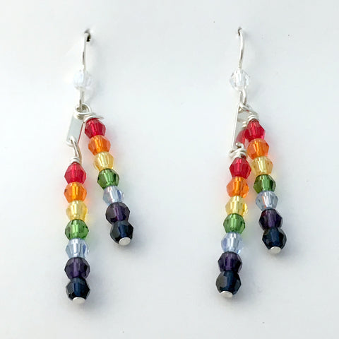 Sterling Silver double Rainbow crystal dangle Earrings-  love, LGBTQ, Pride, gay, ally