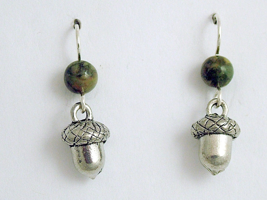 Pewter & Sterling Silver 3-D acorn dangle earrings-oak,tree,acorns,oaks.rhyolite