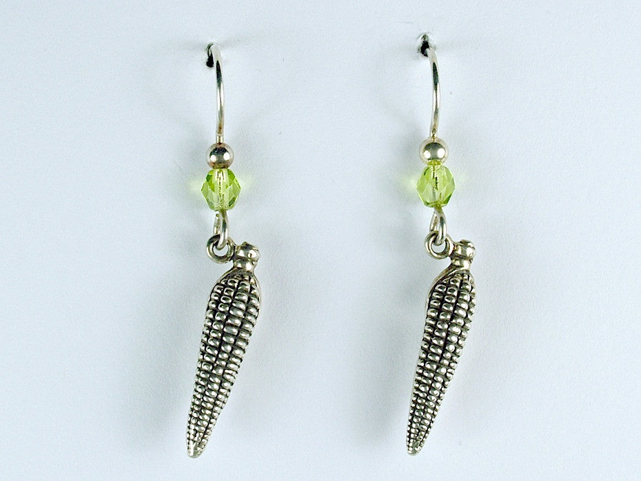 Sterling silver Corn on the cob dangle Earrings- Ear, Maize,summer, farmer, food