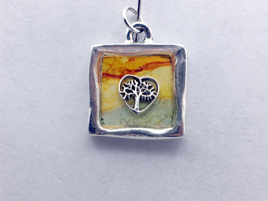 Pewter w/Sterling Silver tree in heart leaf pendant, alcohol ink, fall colors, leaves