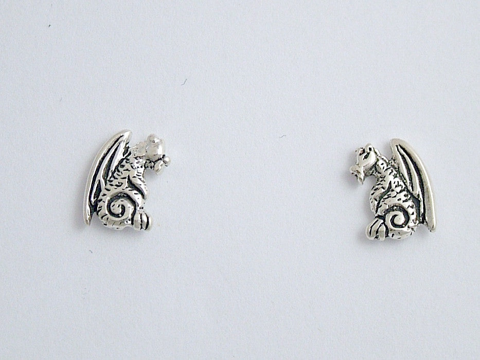 Sterling Silver & Surgical Steel sitting  Dragon stud earrings- fantasy-dragons