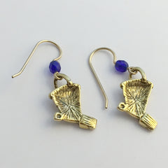 Goldtone Pewter-14kgf sand bucket & shovel dangle earrings-ocean, beach, shore
