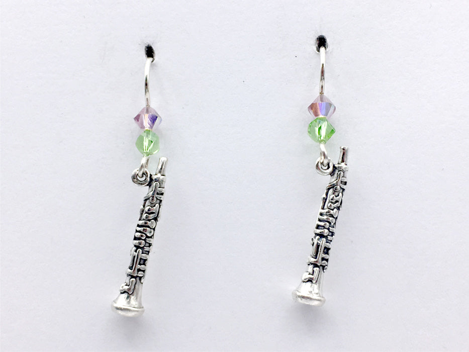 Sterling Silver Oboe earrings-crystal, Music, woodwind, band, orchestra, musician