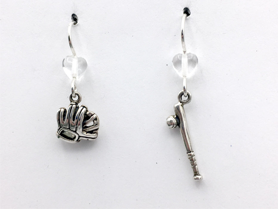 Sterling silver Baseball dangle Earrings-bat, ball, glove,team color, mitt, bats