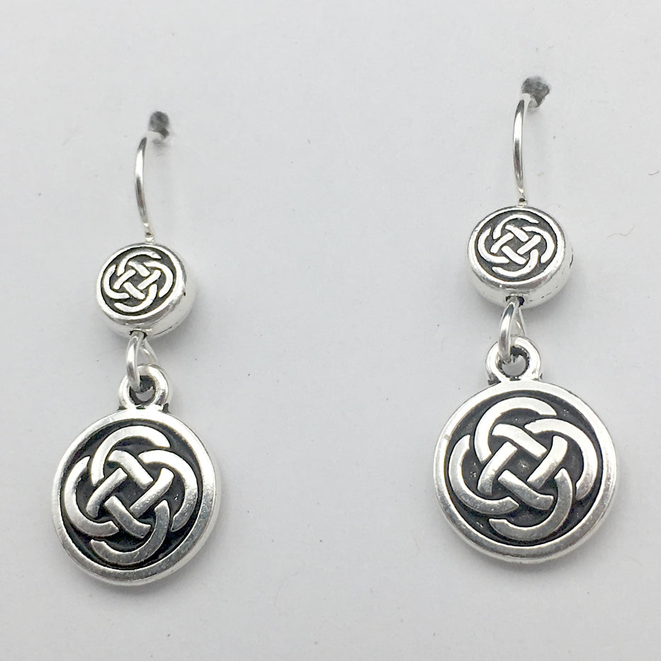 Pewter & Sterling Silver double Round Celtic Knot dangle Earrings- knots