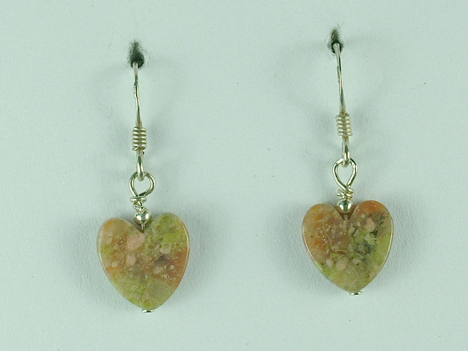 Sterling silver Autumn Jasper heart dangle earrings-Valentine,hearts,love,friend