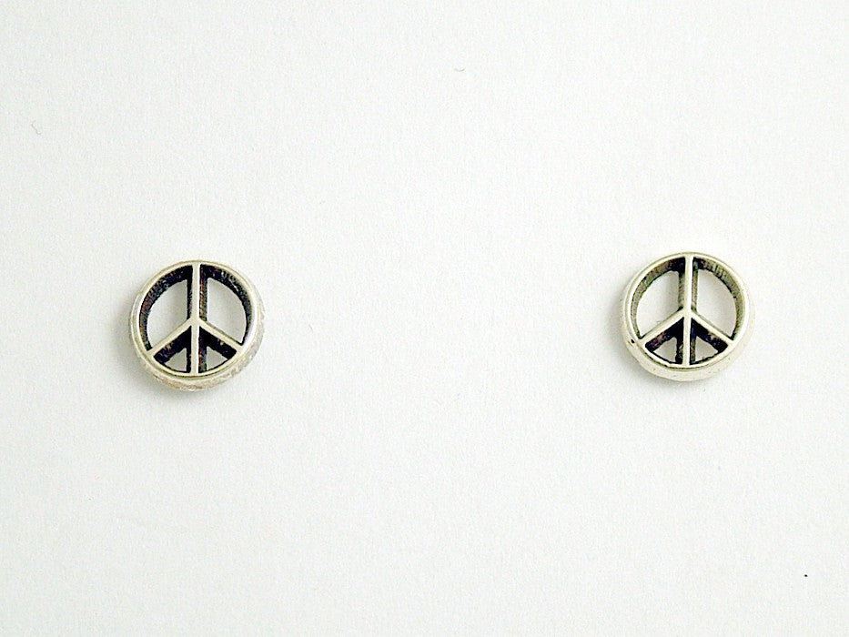 Sterling Silver & Surgical Steel Peace Sign stud earrings- world, signs,