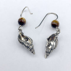 Sterling silver seashell earrings-ocean-tiger eye, triton, sea shell,beach,shore