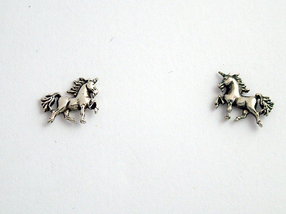 Sterling Silver & Surgical Steel unicorn  stud earrings- fantasy- unicorns