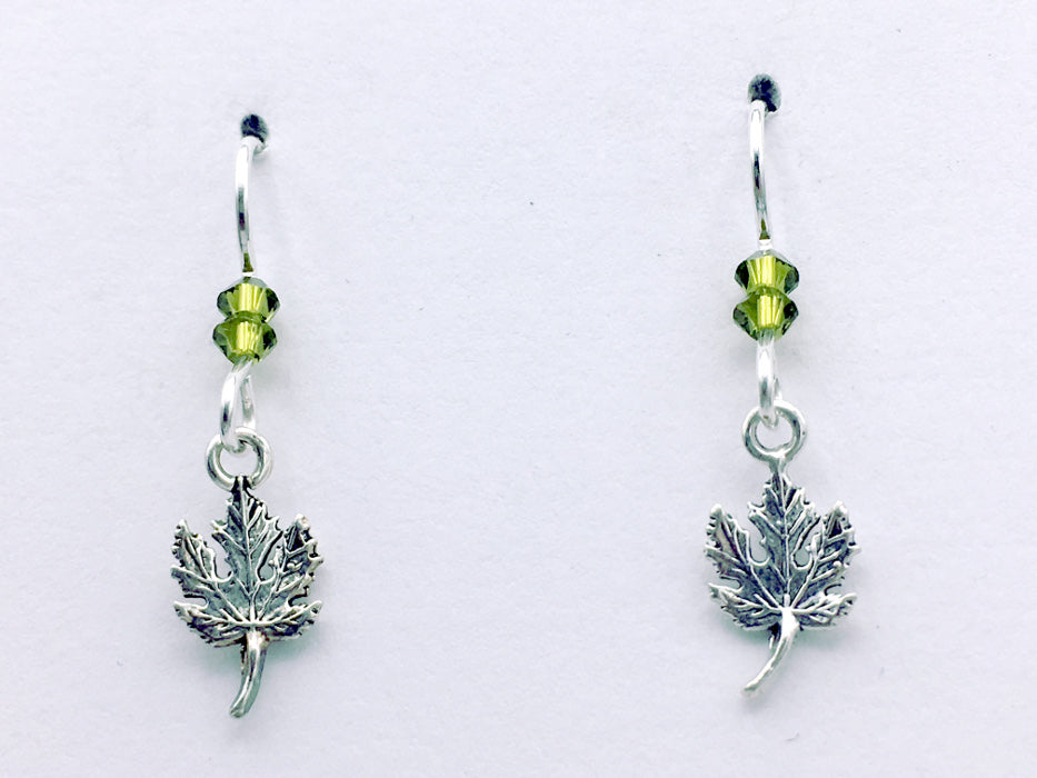 Sterling Silver small maple leaf dangle earrings- maples, tree, nature , leaves