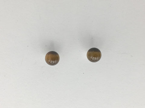 Sterling silver 4mm Tiger Eye stud earrings-studs, round