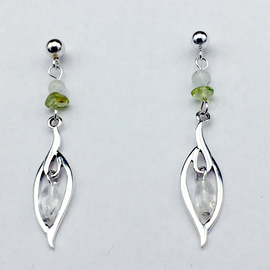 4mm ball stud with Sterling Silver abstract leaf design dangle earrings- aquamarine, peridot