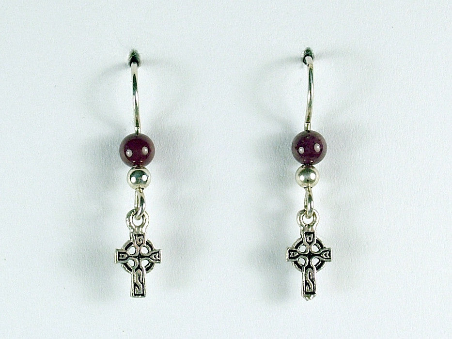 Sterling silver tiny Celtic cross dangle earrings-moukaite, crosses, religion