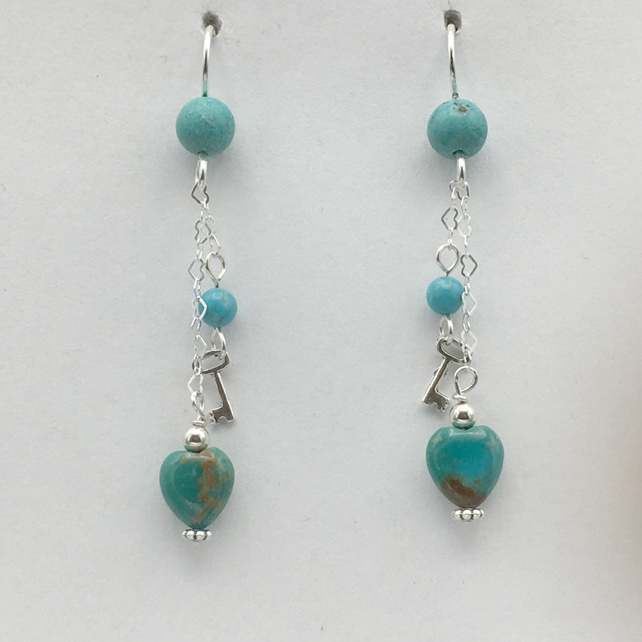 Sterling Silver and Turquoise heart dangle earrings-love, key to my heart, hearts