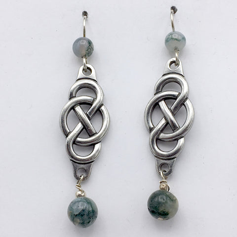 Pewter & sterling silver Infinity symbol with circle dangle earrings- moss agate