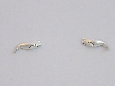 Sterling Silver & Surgical Steel  sperm whale stud earrings-ocean, whales