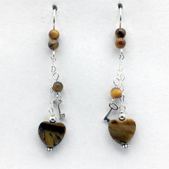 Sterling Silver and Tiger Eye heart dangle earrings-love, key to my heart, hearts