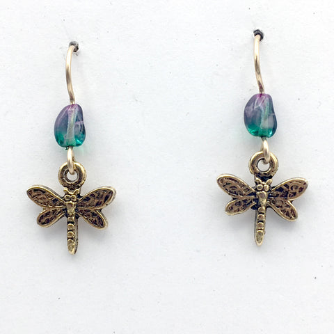 Goldtone Pewter small Dragonfly dangle earring-14kgf earwire,insects,dragonflies