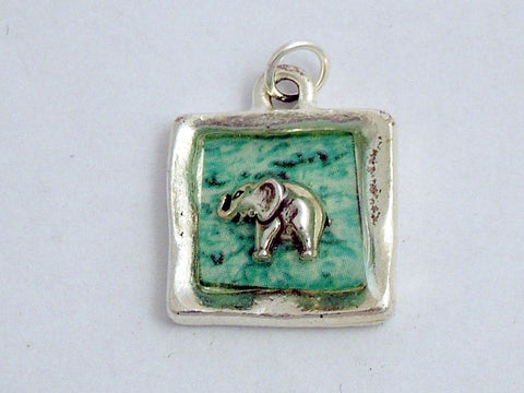 Pewter with aqua blue & sterling silver tiny elephant pendant-resin, elephants