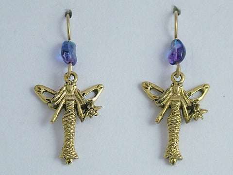 Gold tone pewter Fairy dangle earrings-14k gf earwires- fairies, fey, fantasy