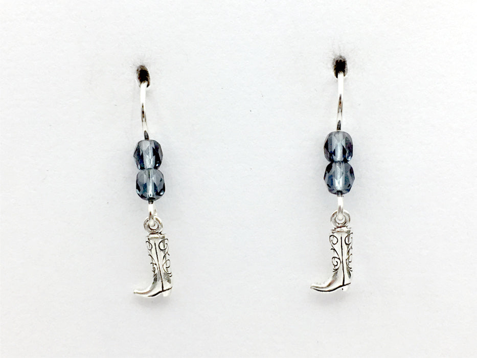Sterling Silver Tiny Cowboy  boot dangle earrings-horse, cowgirl, boots