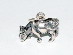 Sterling Silver small  3-D cow charm-steer, bovine, cattle, farm, cowgirl, ranch