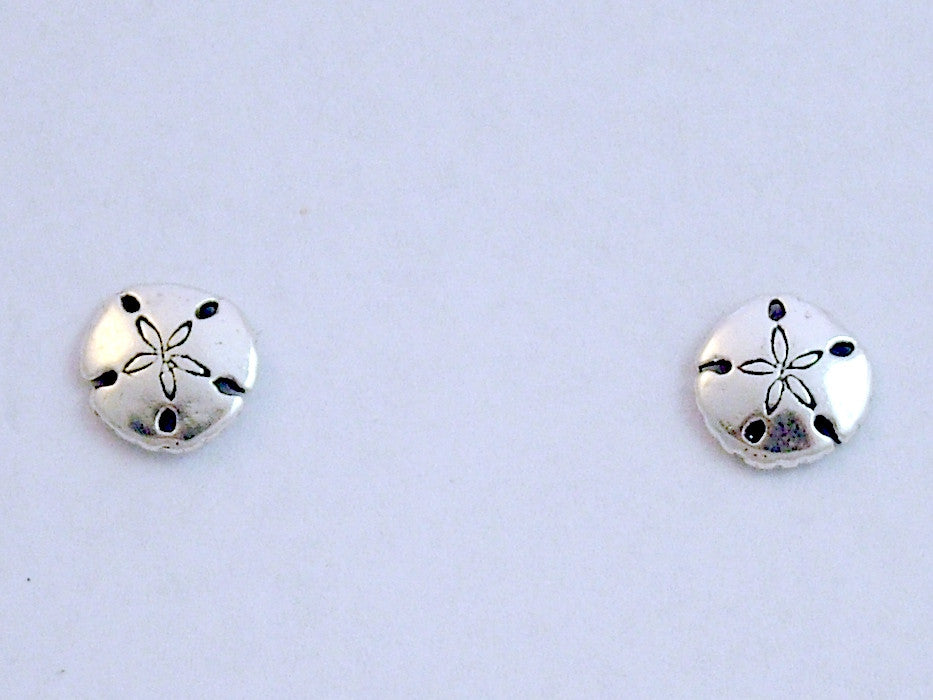 Surgical Steel & Sterling silver tiny sanddollar stud earrings-sand dollar,ocean