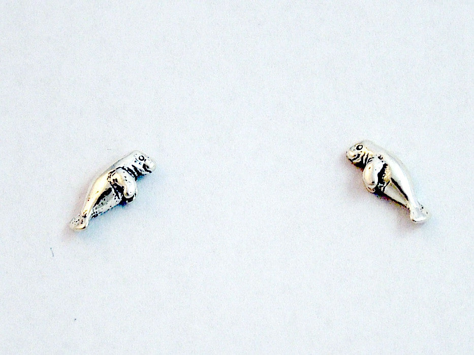 Sterling Silver & Surgical Steel small manatee stud earrings-dugong, manatees