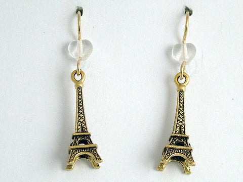Gold tone Pewter &14kgf  Eiffel Tower dangle earrings-Paris , travel, La Tour