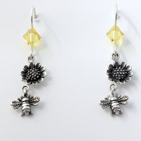 Sterling silver bee & sunflower dangle earrings-keeping-honey-bees-insect-garden