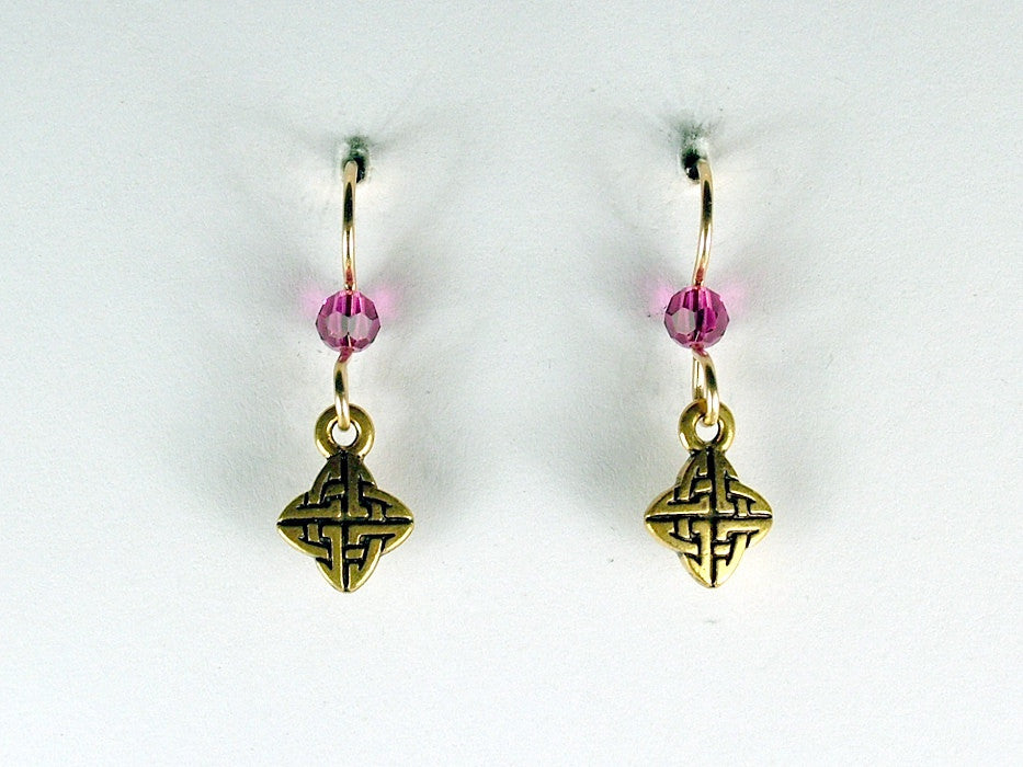Gold tone Pewter &14k gold filled tiny Celtic knot earrings- fuschia crystal