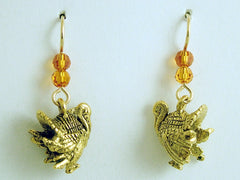 Goldtone Pewter & 14k GF Turkey dangle Earrings-Thanksgiving- Bird- Turkeys