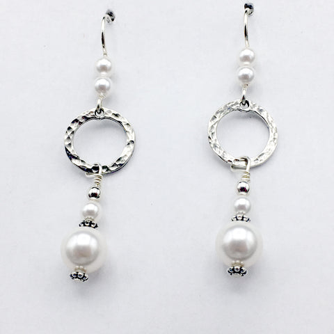 Sterling Silver  hammered circle Earrings-dangle, glass pearls