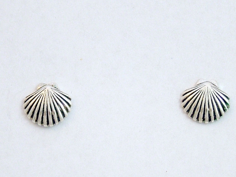 Sterling Silver & Surgical Steel seashell stud earrings-shell, sea, shells,beach