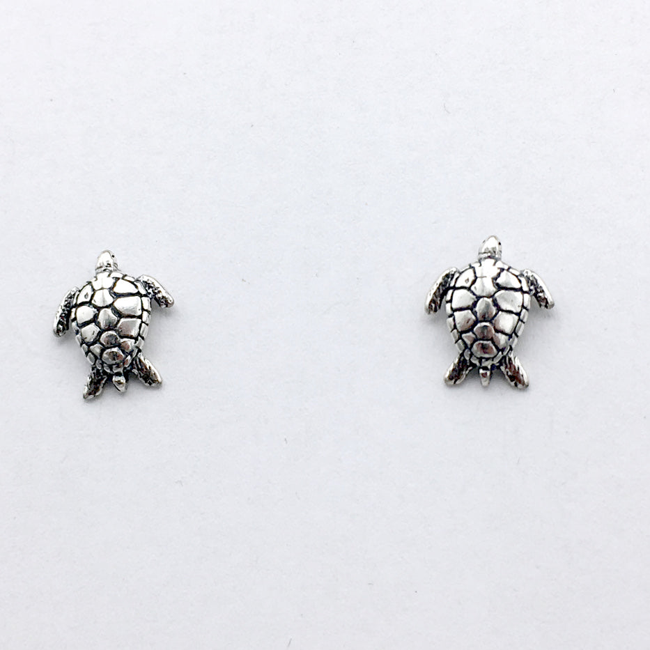 Sterling Silver and Surgical Steel sea turtle stud earrings-turtles, ocean