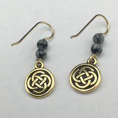 Gold tone Pewter &14k gf Celtic medium Round Knot earrings- snowflake obsidian