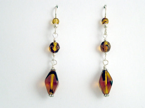 Sterling silver and tortoise glass beads dangle earrings- Elegant, 2 1/8 inches