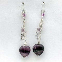 Sterling Silver and Rainbow Fluorite heart dangle earrings-love, key to my heart, hearts