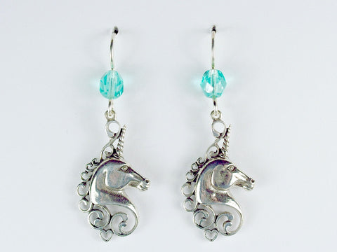 Sterling silver  Unicorn Head dangle earrings- glass-Fantasy-unicorns, heart
