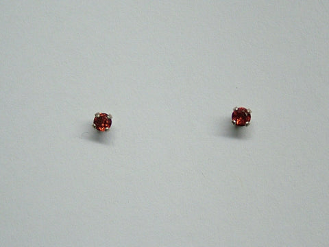 Sterling silver tiny 3mm Garnet stud earrings-studs, January Birthstone, garnets