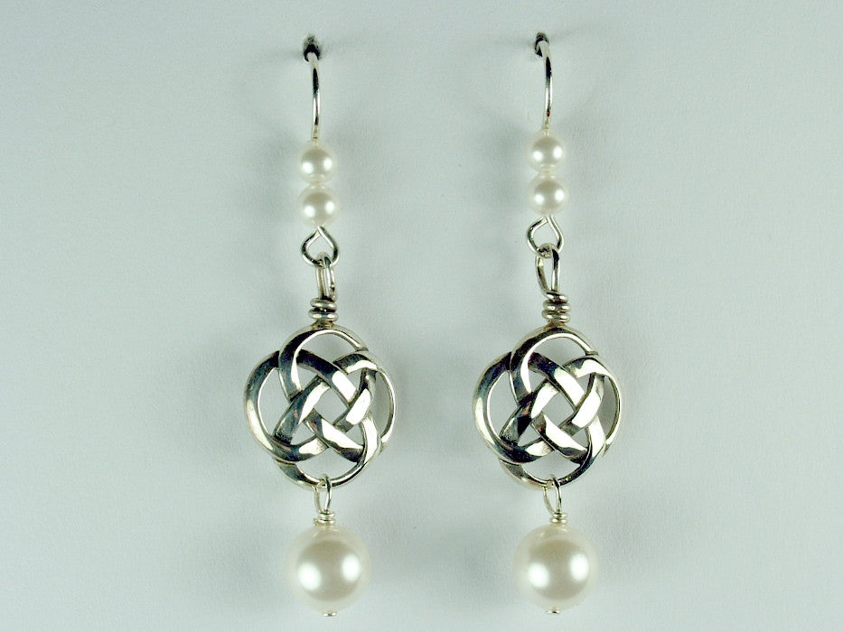 "Sterling Silver Round Celtic Knot dangle earrings- glass ""pearls"" ,knots"