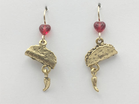 Goldtone Pewter & 14K GF Taco with dangling chili pepper Earrings- food, tacos