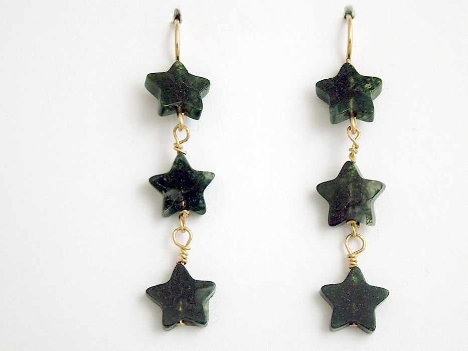 14k gold filled wire & Moss Agate 3 star bead dangle earrings-2 inch long, stars