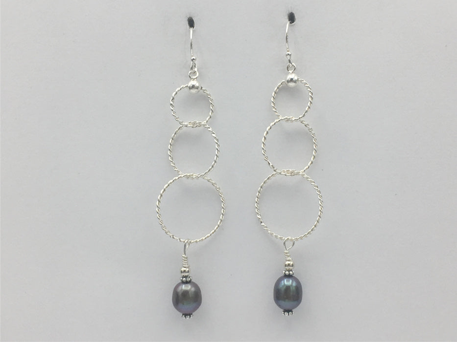 Sterling Silver 3 tier twisted wire circle Earrings-dangle, freshwater pearls