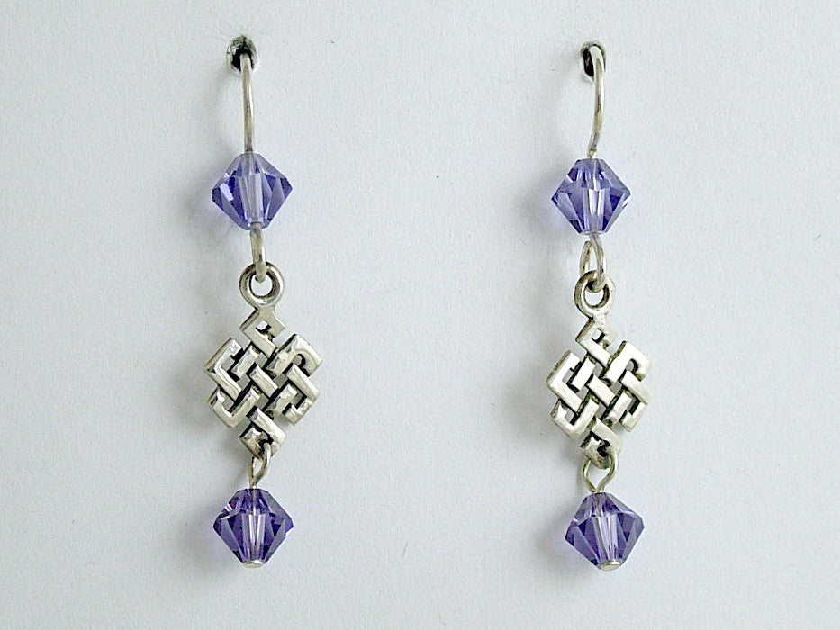 Sterling Silver Celtic knot dangle Earrings-Tibetan endless,purple crystal,knots