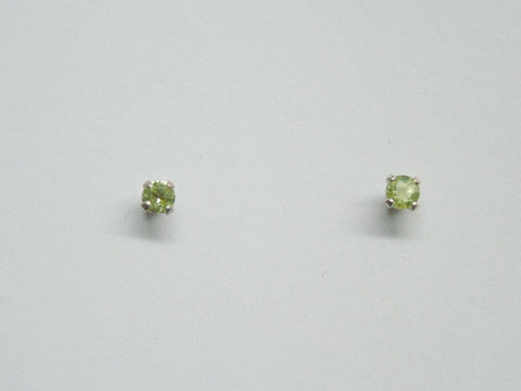 Sterling silver tiny 3mm Peridot stud earrings-studs, peridots,August birthstone