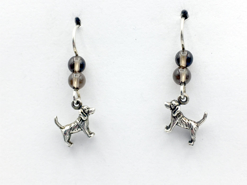 Sterling silver tiny Beagle dog dangle Earrings-dogs-beagles,canine,smoky quartz