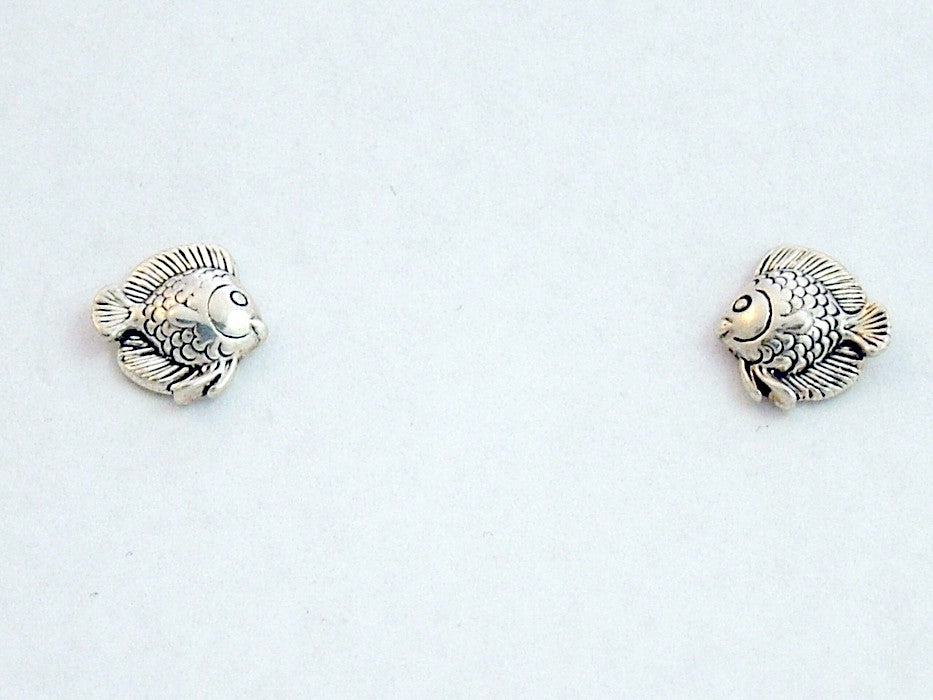 Sterling Silver & Surgical Steel small tropical fish stud earrings-ocean-fish