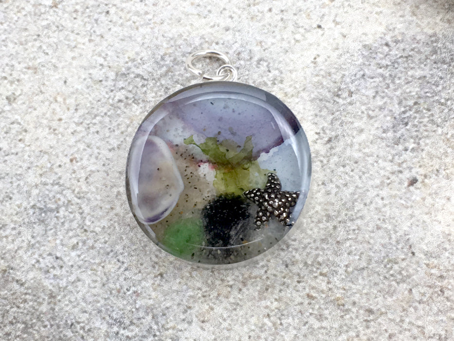 Sterling silver 25mm Round Pendant with Shell, Shells, sea Plant Sand, Sea glass, Star fish, LBI, Harvey Cedars, New Jersey shore, tide pool, starfish, alcohol ink art,  beach comber